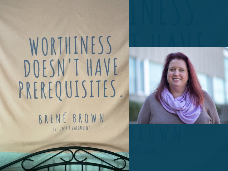 a banner that reads worthiness doesn't have prerequisites and michelle brock